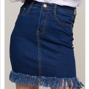 Denim Mini Skirt with Fray